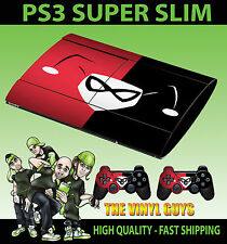 PLAYSTATION 3 SUPER SLIM HARLEY QUINN LOGO RED BLACK BATMAN SKIN +PAD SKIN