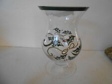 LENOX GLASS HURRICANE CANDLE HOLDER FLORAL VASE SHORT FOOTED HOLLY & BERRY
