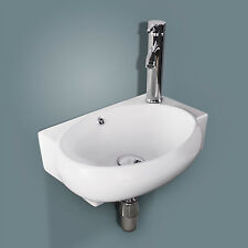 New Bathroom Ceramic Vessel Sink White Porcelain Corner Wall Mounted & Faucet