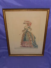 VTG FRENCH LADY / WOMAN FASHION  PICTURE ST. AUBIN DEL. DUPIN FIL SCULP FRAMED#2