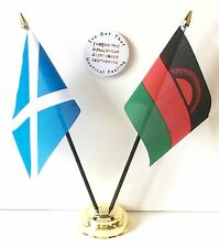 Scotland & Malawi Double Friendship Table Flags & Badge Set