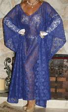 XXL SWEEPING SHEER BLUE LACE VINTAGE SLIP NEGLIGEE LINGERIE NIGHT GOWN