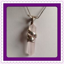 "Sterling Silver 925 Rosequartz Dolphine Necklace 19"" Long"