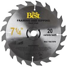 """(2) Do It Best Carbide Tpped 7-1/4"""" Framing & Ripping Circular Saw Blade 20T"""