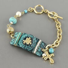 Gold Chain Patina Colored Hammered Plate Cross Emblem Pearl Turquoise Bracelet
