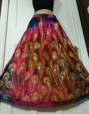 Peacock Boho Tie Dye Skirt Hippie Party Gypsy Festival PINK/BROWN/BLUE Frsz8-16