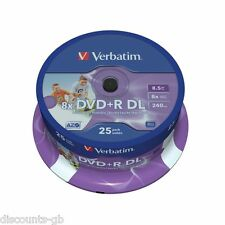 Verbatim dvd + r dl double couche imprimable lot de 25 broche 8.5GB/240min 43667