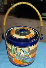 Japanese Satsuma Moriage Kutani Lidded Ginger Storage Jar,  Bamboo Handle