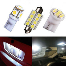 9x White LED interior lights package Dome Map + license plate lamp T10 42mm 578