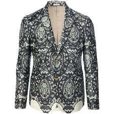 Alexander McQueen Black Grey Ivory Skull Lace Print Wool Silk Blazer Jacket IT48