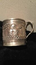Antique 19th C Chinese Indian Burmese Solid Silver Tea Cup Holder& Bamboo Handle
