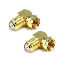 2pcs x 90° Right Angle Gold Plated F RG6 RG59 Coaxial Coax Connector Adapter