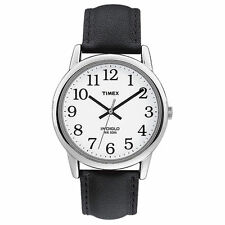 Timex T20501, Men's Easy Reader Black Leather Watch, Indiglo, T205019J