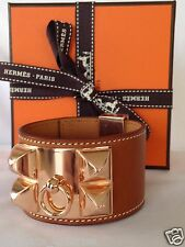 HERMES FAUVE BARENIA ROSE GOLD CDC COLLIER DE CHIEN CUFF BRACELET NEW GORGEOUS