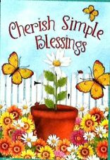 Cherish Simple Blessings - Garden Flag with flowers and butterflies