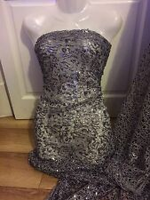 "5 MTR NEW SPARKLEY GREY SEQUENCED LACE FISH NET BRIDAL FABRIC...55"" WIDE £44.99"
