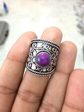 ANTIQUE 925 STERLING SILVER PLATED PURPLE TURQUOISE BIG RING US 9 PN1517