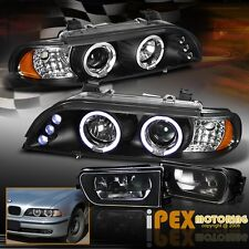 For 1997-2000 BMW E39 5-Series 528i/540i Halo LED Head Light + Black Fog Lamp