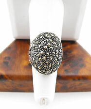 Vtg Sterling Silver Marcasite Dome Cocktail Ring sz 7