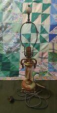 VINTAGE ANTIQUE ART NOUVEAU HEAVY METAL BROWN TAN MARBLE DESK TABLE LAMP LIGHT