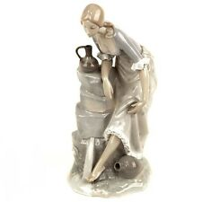 """Lladro Nao """"Girl With Water Jugs"""" Large Porcelain Figurine 13"""" Tall Great Gift"""