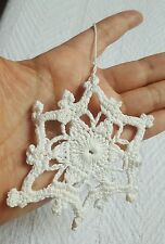 Hand-Made Snowflake Holiday Ornament - Crocheted • Pre-owned • Nice Condition