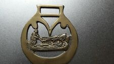 Vintage antique horse brass old brass badge working man in the farm