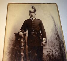 Antique Swedish Soldier Military Dress Uniform Knife or Sword & Helmet CDV Photo