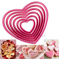 6Pcs Heart Icing Fondant Cookie Biscuit Cutters Cake Decorating Sugarcraft Mold