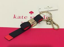 NEW Kate Spade Leather Bow Key Chain Ring Fob Charm Offshore/Geranium $39