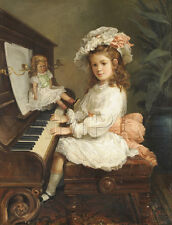 ANTIQUE DOLL PRINT UPRIGHT PIANO CHILD PLAYING MUSIC VINTAGE CANVAS ART  BIG