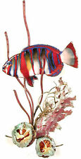 Harlequin Tusk Fish in Coral Metal Wall Art Sculpture- Bovano of Cheshire W1668