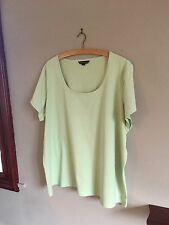 LANDS' END LADIES UK SIZE 20-22 SHORT SLEEVE APPLE GREEN COTTON SHIRT CASUAL TOP