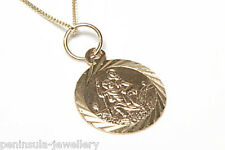 9ct Gold Childs St Christopher and 16in Chain Gift Boxed Made in UK