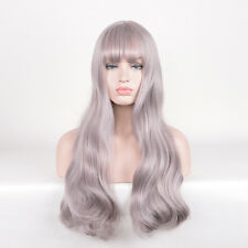 Tapered Fringe bangs Long Curly Hair Mermaid Shine Silver Pink Mix Color wigs
