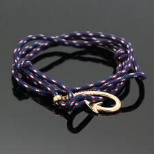 Handmade Nautical Rope Cord Golden Fish Hook leather Bracelet Fashion