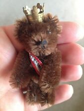 "RARE Antique Vintage SCHUCO BERLIN Miniature Mohair Tiny Bear 2.5"" DK BROWN NR"