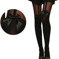 Black Vintage Tights Bow Pantyhose Tattoo Mock Bow Suspender Sheer Stockings N