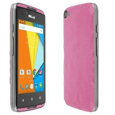 Skinomi Pink Carbon Fiber Skin+Screen Protector for BLU Energy Diamond Mini
