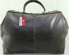 New French Ritelle Italian Leather Holdall Weekend Duffle Travel Bag Case Brown