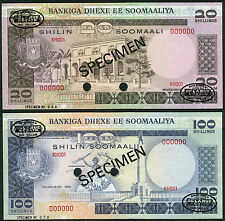 Somalia set of 2 notes 20 - 100 Shillings 1981 UNC - SPECIMEN with oval TDLR