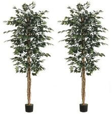 6.5' Artificial Ficus Tree In Pot Silk Plant Decor Palm (Pack of 2)