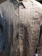 LANDS' END Black & Maroon Striped 100% Cotton LS Men Dress Shirt XL EUC R-133