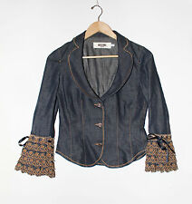 Moschino Jeans Ruffled Sleeves Denim Jacket Size 6