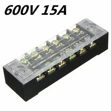 600V 15A 6Position Double Row Wire Barrier Block Screw Terminal Patch Panel