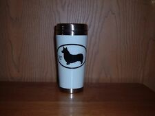 Travel Mug White With Black Pembroke Welsh Corgi Silhouette For Cold Or Hot