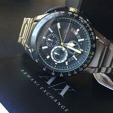 Armani Exchange AX1408 Mens Silver Tone Black Dial Tachymeter Chronograph Watch