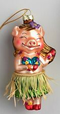 Hawaiian Hula Pig with Grass Skirt Christmas Ornament by Cost Plus World Market