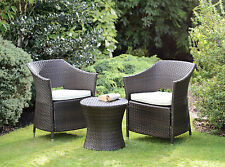 Rattan Effect 3 Piece Armchair Outdoor Garden Furniture Boston Set With Cushions