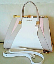 NWT CROMIA HANDBAG/SHOULDERBAG - BEIGE w/TAN w/Blush or Pink ~ Safianno Leather